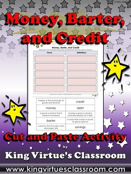 Economics: Money, Barter, and Credit Vocabulary Words Cut and Paste Activity
