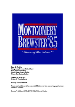 Economics Movie - Brewster's Millions