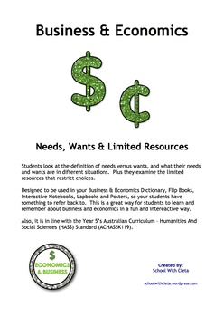 Economics - Needs, Wants & Limited Resources (Year 5 HASS - ACHASSK119)