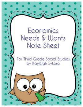 Economics Needs and Wants - Third Grade