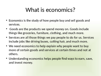Economics PPT (With some science- resources)