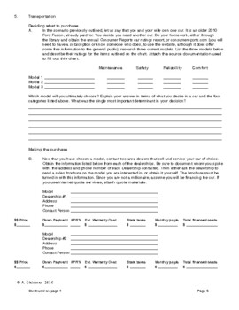 Economics - Personal Annual Budget Project