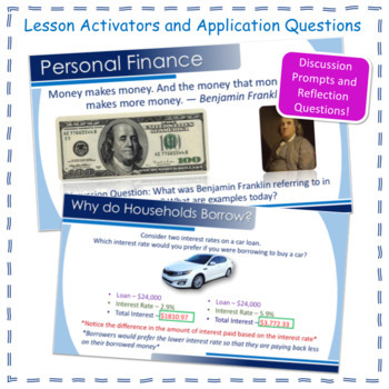 Economics - Personal Finance Saving, Investing, Insurance, Power Point and Notes