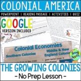 Economics & Politics of the 13 Colonies; Colonial America;