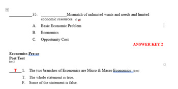 Economics Pre or Post Test 35 questions incl Answer Key in both a PDF & editable