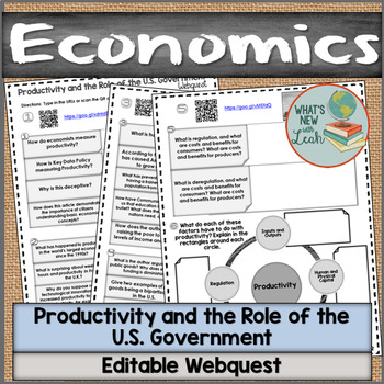 Economics Productivity and the Role of the U.S. Government Webquest