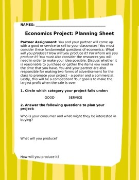 Economics Project: Market Day