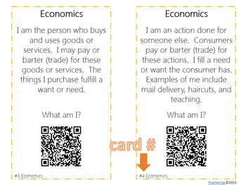 Economics Task Cards with QR Codes