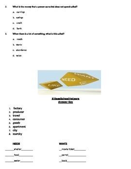 Economics Quiz- Needs and Wants, Etc.