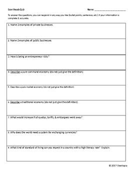 Economics Quiz/Test with KEY