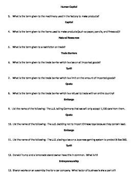 Economics Review Questions