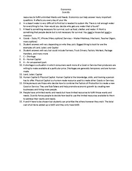 Economics - Scarcity Questions With Answer Key