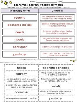 Economics: Scarcity Vocabulary Words Cut and Paste Activity - Economic Choices