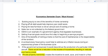 Economics - Semester Exam Must Knows