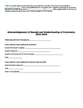 Economics Syllabus Template