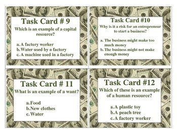 Economics Task Cards 3rd Grade GREAT CRCT REVIEW
