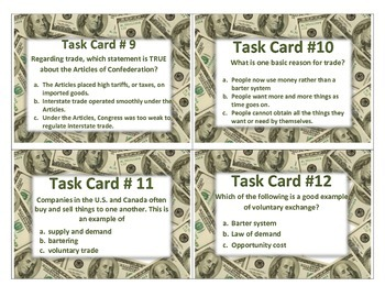 Economics Task Cards 4th Grade