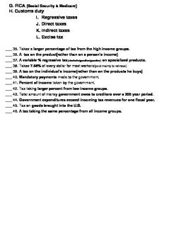 Economics - Taxes Note Sheet
