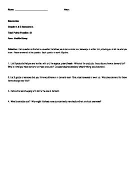 Economics Test, Modified Exam and Review (Unit Four)