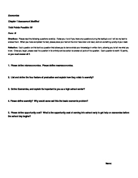 Economics Test, Modified Exam and Review (Unit One)