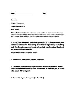 Economics Test, Modified Exam and Review (Unit Seven)