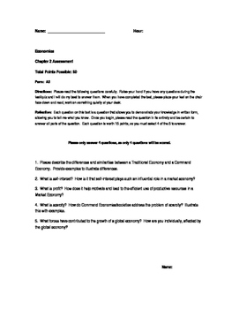 Economics Test, Modified Exam and Review (Unit Two)