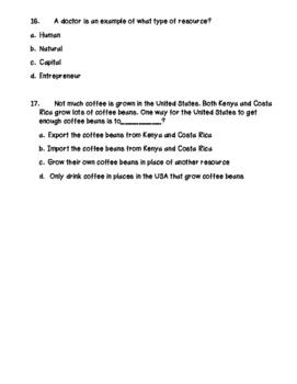 Economics Test & Study Guide! Elementary School Level