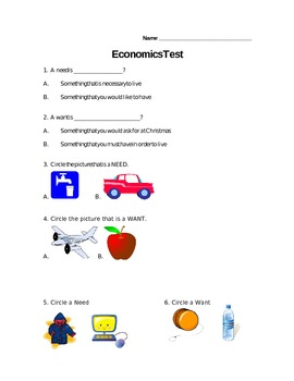 Economics Test for Elementary Students (Need-Wants/Buyer-Seller/Goods-Services)