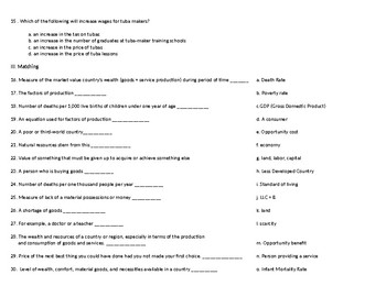 Economics Test for Middle School students