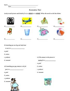 Economics Test (meets Grade 1 VA SOLs)