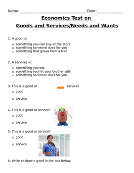 Economics Test on Goods and Services & Needs and Wants