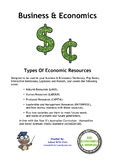 Economics - Types Of Economic Resources (Year 5 HASS - ACHASSK120)