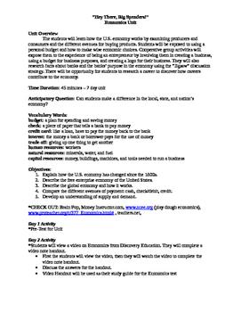 Economics Unit - 7 day lesson plan