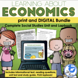 Economics Unit, Lapbook, Print & Digital Distance Learning Bundle