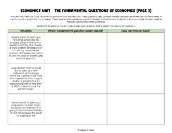 Economics Worksheets for Middle Schoolers