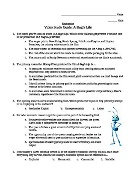 Economics Video Study Guide: A Bug's Life