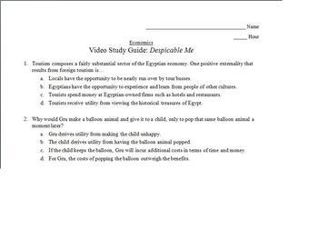 Economics Video Study Guide: Despicable Me