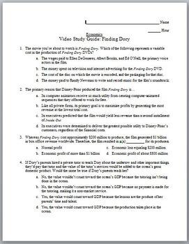 Economics Video Study Guide: Finding Dory