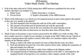 Economics Video Study Guide: The Martian