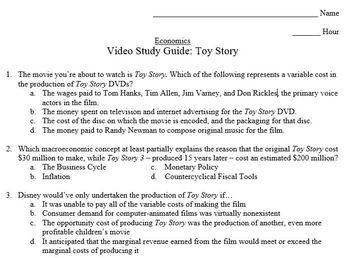 Economics Video Study Guide: Toy Story