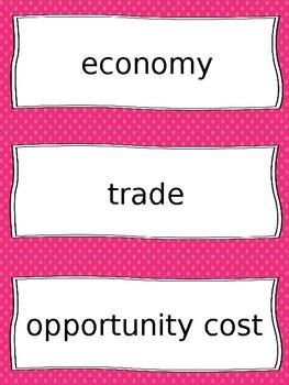 Economics Vocabulary Cards - SS4E1, SS4E2
