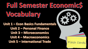 Economics Vocabulary Cumulative BUNDLE for High School/AP/College Econ