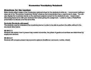 Economics Vocabulary Notebook