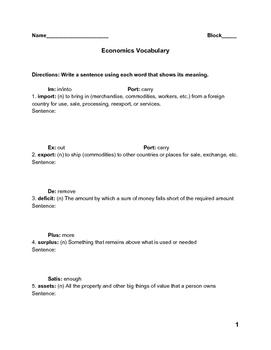 Economics Vocabulary Practice