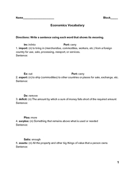 Economics Vocabulary Practice