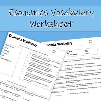 Economics Vocabulary Worksheet (Distance Learning Friendly)