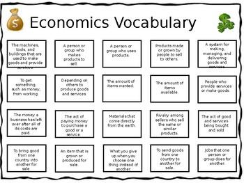 Economics Vocabulary and Test Prep