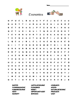 Economics Word Search--Essential Vocabulary!