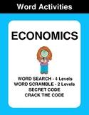 Economics - Word Search Puzzles, Word Scramble,  Secret Code,  Crack the Code