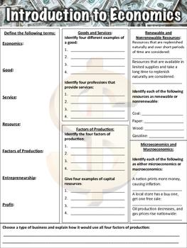Economics Worksheet